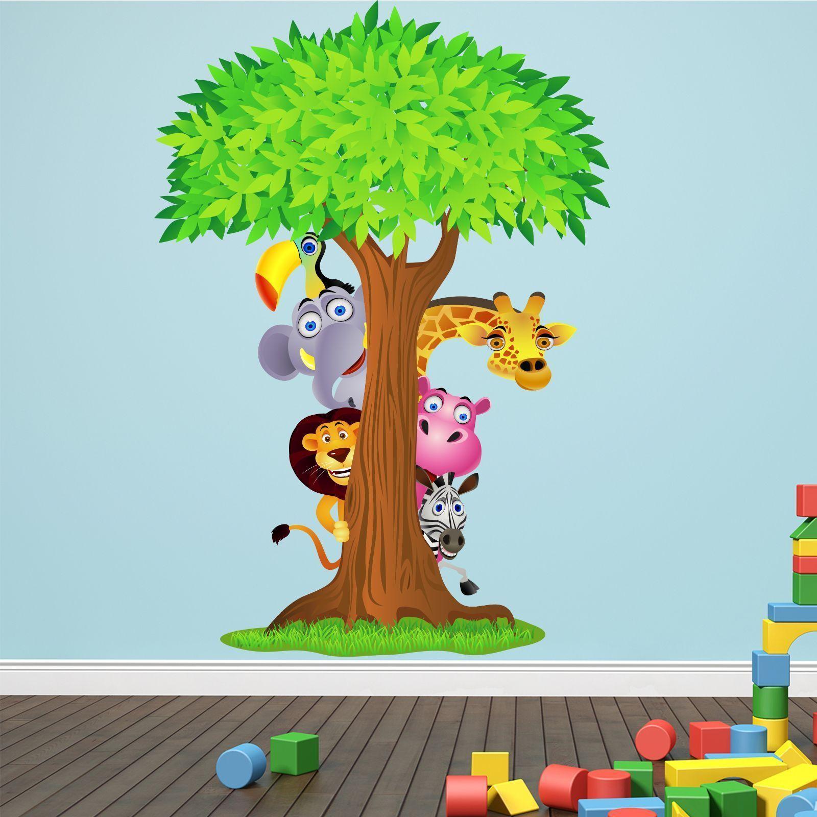 Wandtattoo Dschungel Tiere Baum 115x165cm Comic Kinder