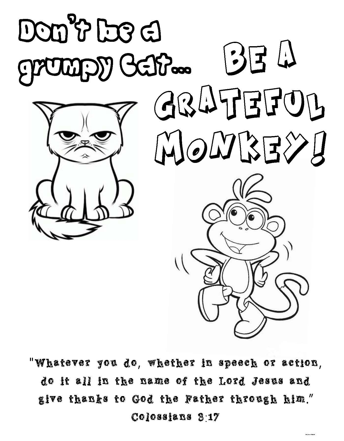 Colossians 3 17 Coloring Page Grumpy Cat Boots From Dora Cat