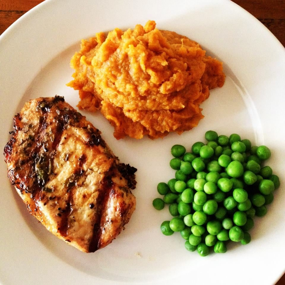 Herb marinated pork with maple mashed sweet potatoes.