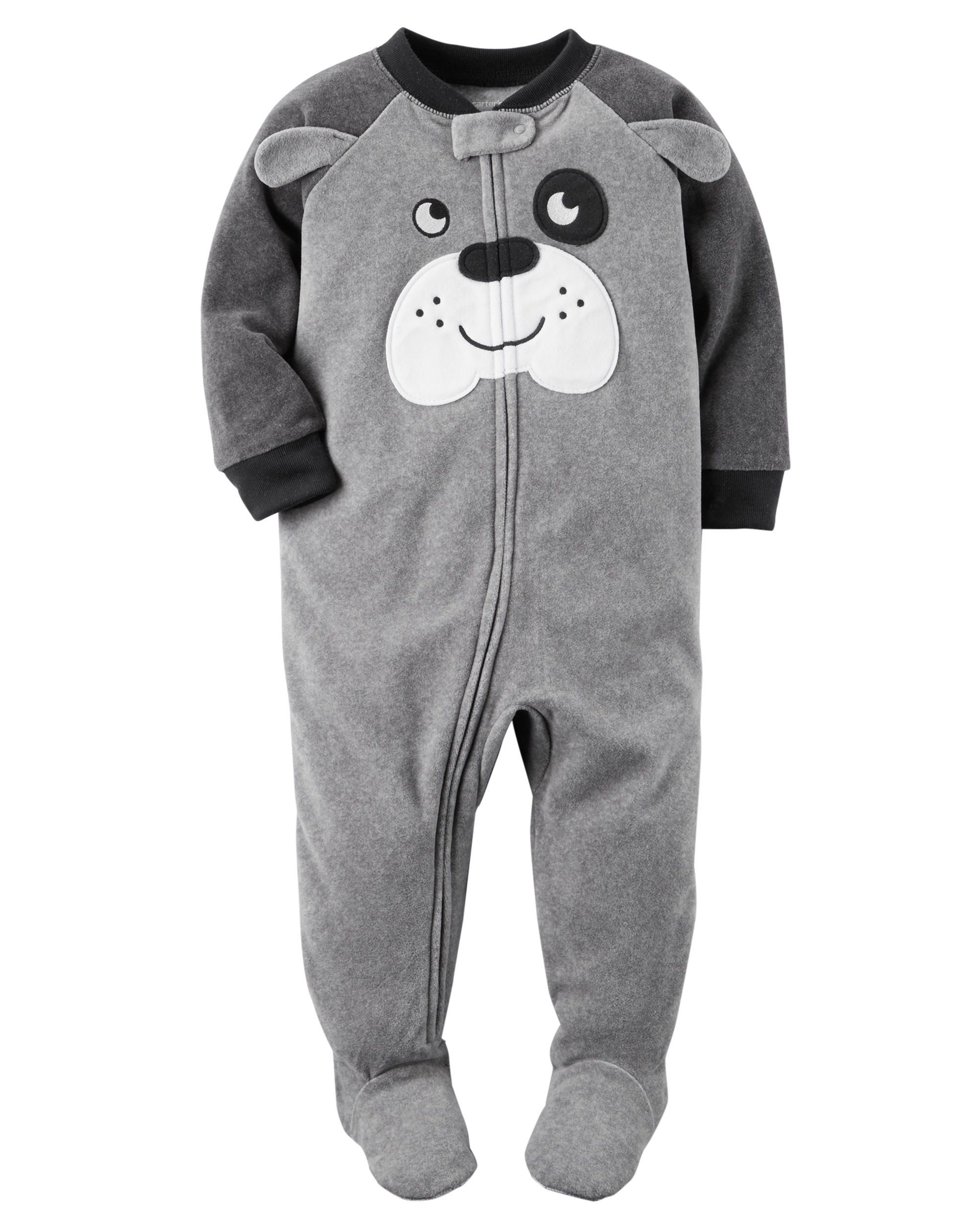 Carters Baby Toddler Boys 2 Pack Fleece Footed Pajama Sleep And Play Set 12 Months Zipper Closure Grey Dog Face A Baby Boy Pajamas Baby Boy Outfits Boy Outfits