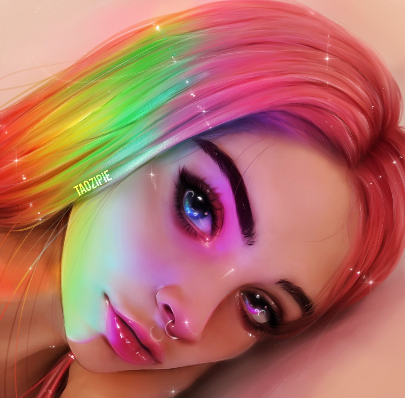 Artstation Rainbow Olivia Derivas Digital Portrait Art Digital Art Girl Girls Cartoon Art
