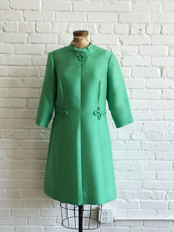 1960s Green Coat Style Dress // 60s Green Asian Inspired Dress ...