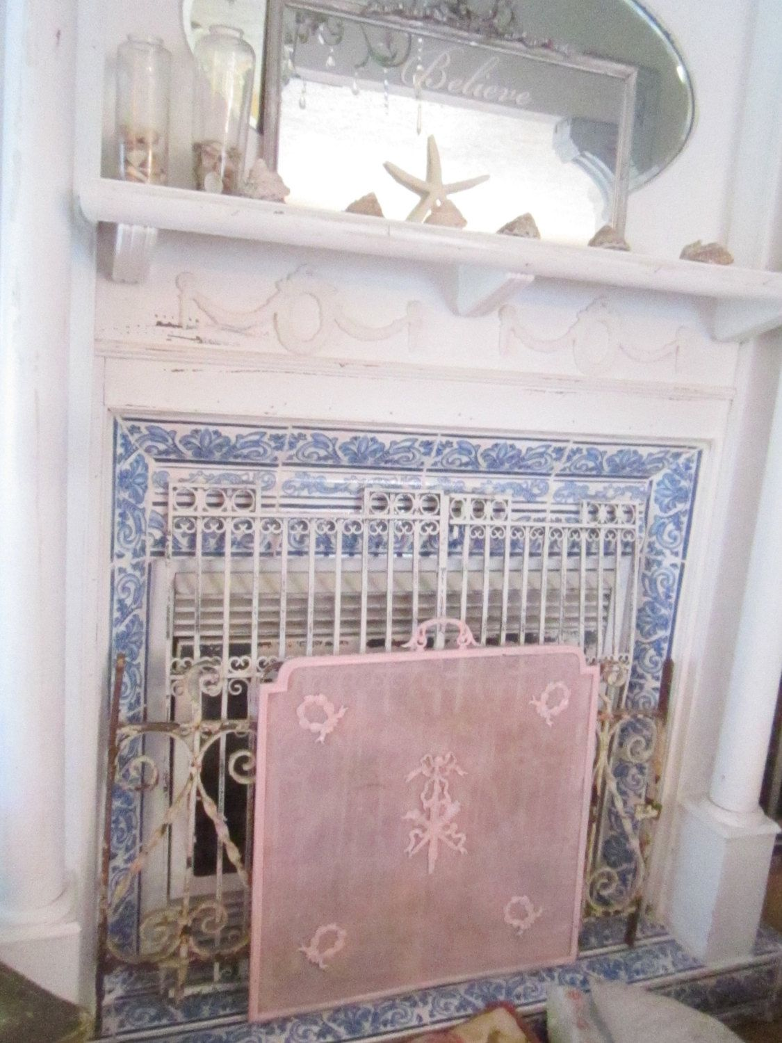 Vintage fireplace screen pink shabby chic bohemian cottage chic ...