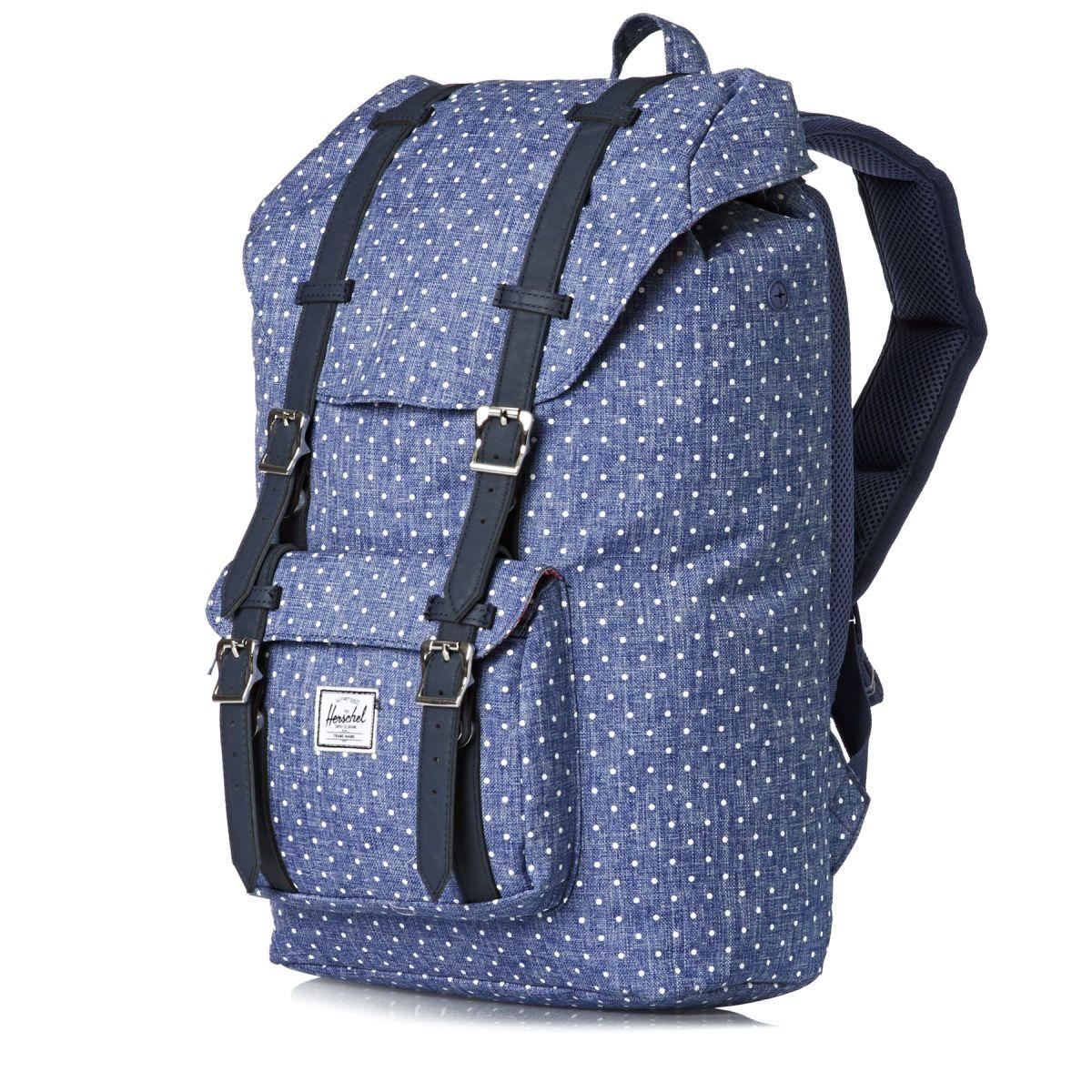 Herschel Backpacks - Herschel Little America Mid-volume Laptop Backpack -  Limoges Crosshatch/white