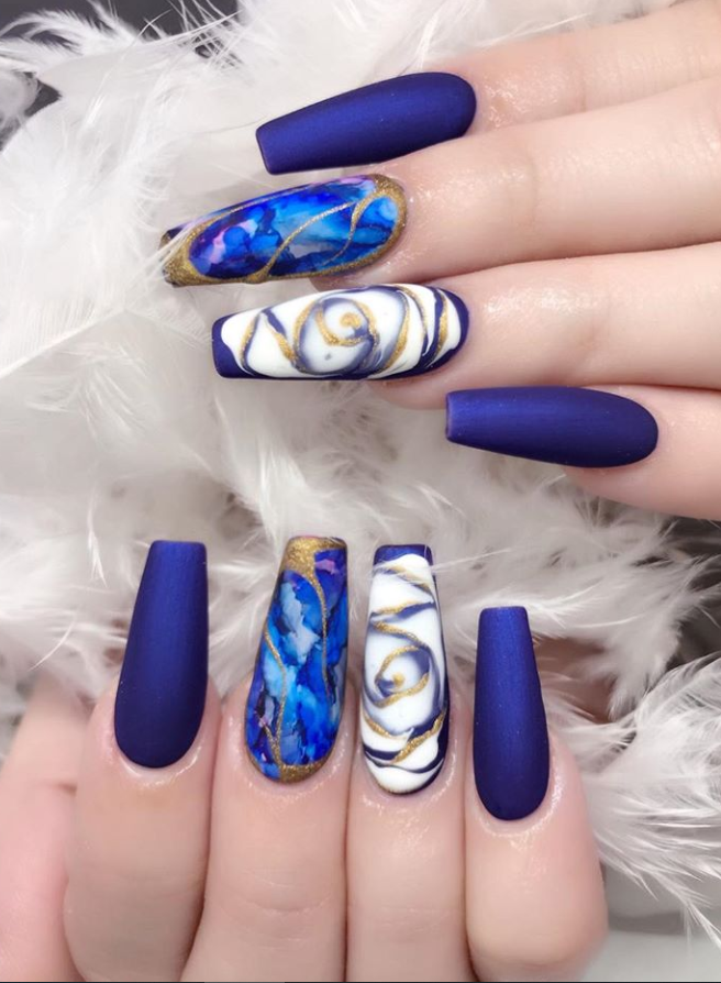 50 Fabulous Sparkly Giltter Acrylic Blue Nails Design On Coffin And Stiletto Nails To Try Now - Page 33 of 54 - Latest Fashion Trends For Woman | Blue nail designs, Light blue nails, Navy blue nails