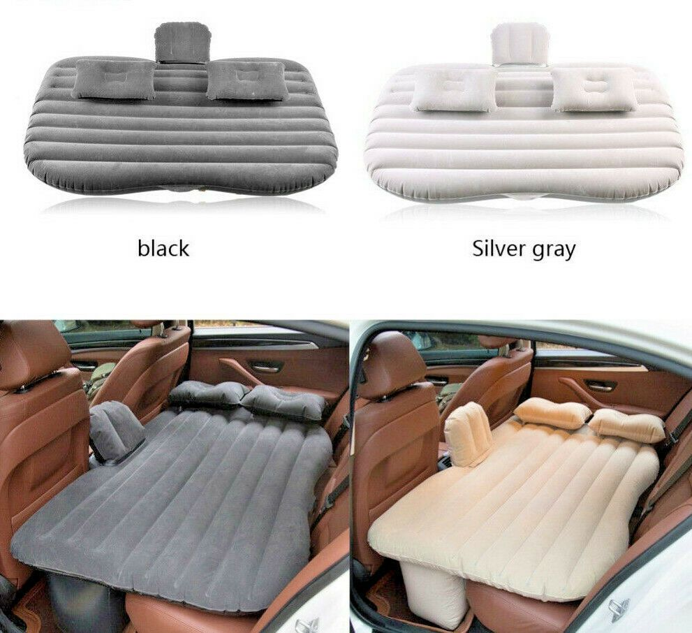 Inflatable Travel Camping Car Seat Sleep Rest Mattress Air Bed Pump 2 Pillows