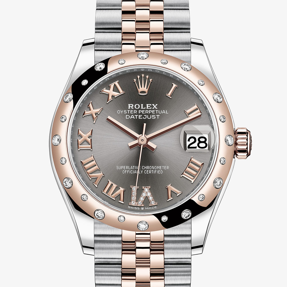 Rolex Datejust 31 Oyster, 31 mm, Oystersteel, Everose gold and diamonds M278341RBR-0030 | Ladies Watches | Rolex Watches | Mappin & Webb #rolexwatches