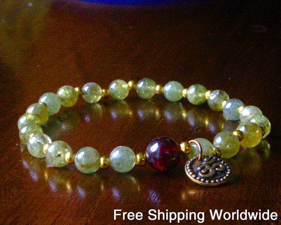Green Garnet Yoga Bracelet - Yoga Mala Bracelet, Green Hessonite Garnet, Yoga Jewelry, Meditation, Om Jewelry, Free Shipping Worldwide
