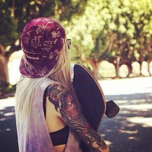 Streetstyle Ink Skategirl Tattoo Skateboard Girl Girl Tattoos Skate Girl
