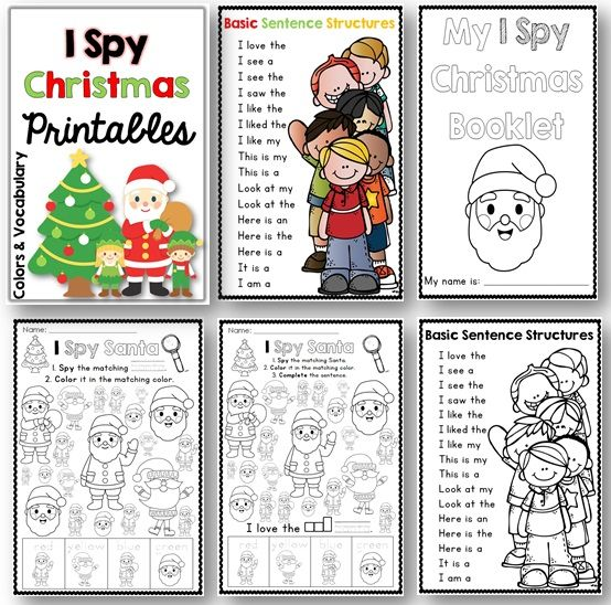 I Spy Christmas Printables Colors And Vocabulary A Differentiated Activity Christmas Printables For Pre K Christmas Coloring Pages Christmas Christmas Colors