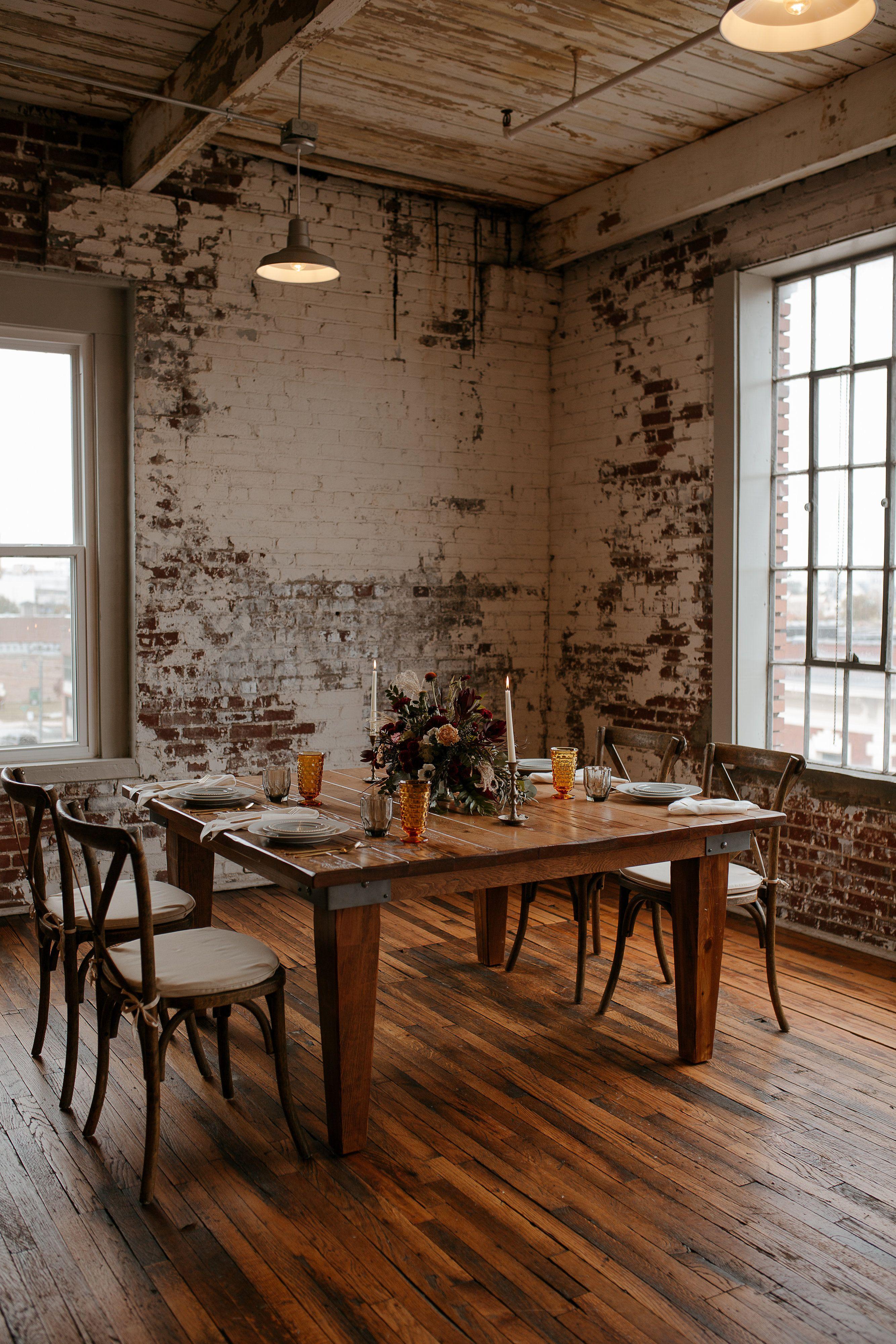 Rustic Farm Table + X Back Earthy Vintage Wedding Dining
