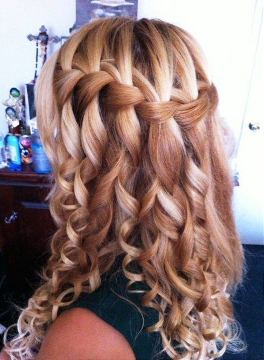 If You Have Medium Length Hair And Additionally A Curly Braided Hairstyles Are You Often Looking For Q Hair Styles Braids With Curls Waterfall Braid Hairstyle