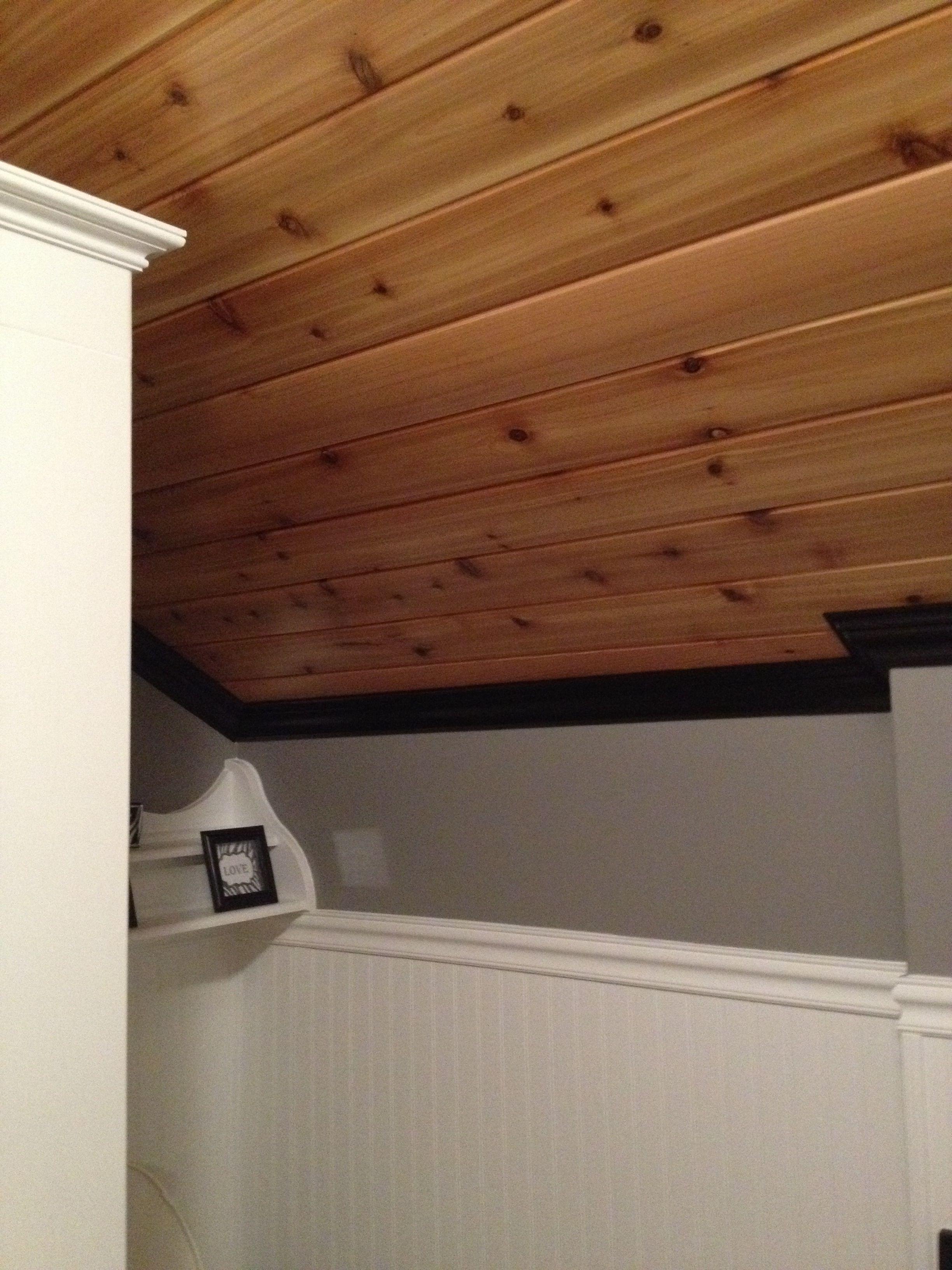 Cedar ceiling with crown molding my bathroom remodel for Bathroom ceiling molding ideas
