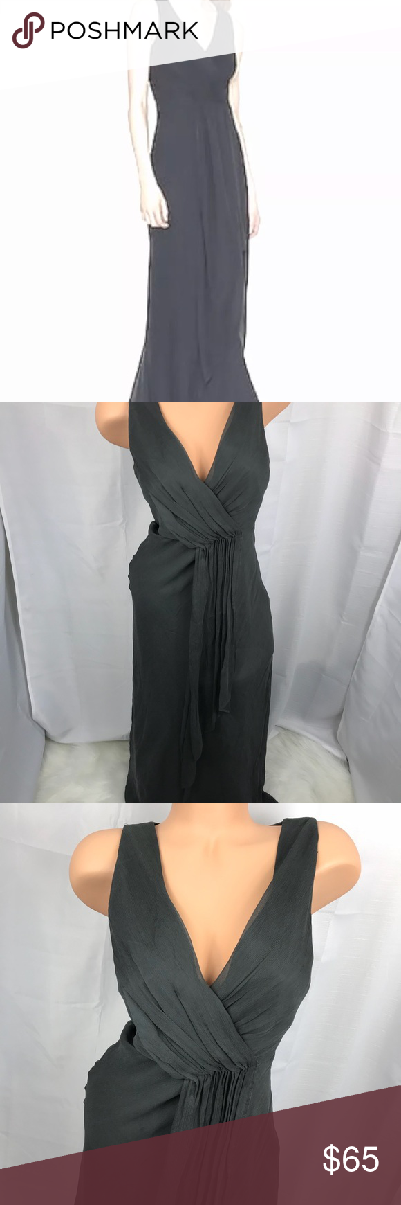 J crew evie silk dress maxi formal dk gray p my posh picks