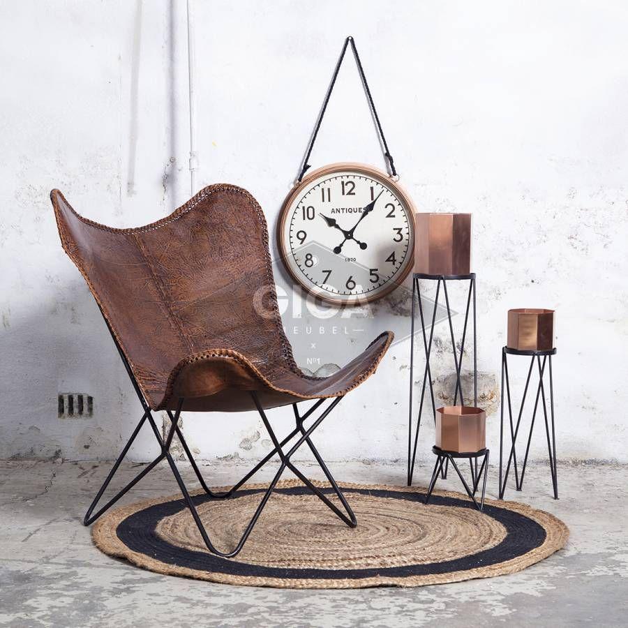 Vlinderstoel Cognac Vintage Leder, Staat Met Stip Op Mijn  #gigameubelwishlist · Butterfly ChairInterior ...