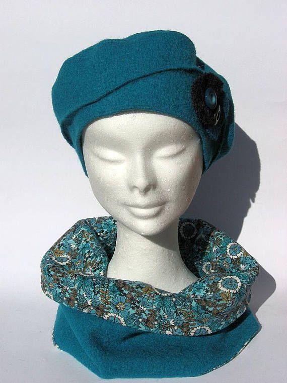 elegante set basco e collo di lana turchese set inverno  ca722318abbd