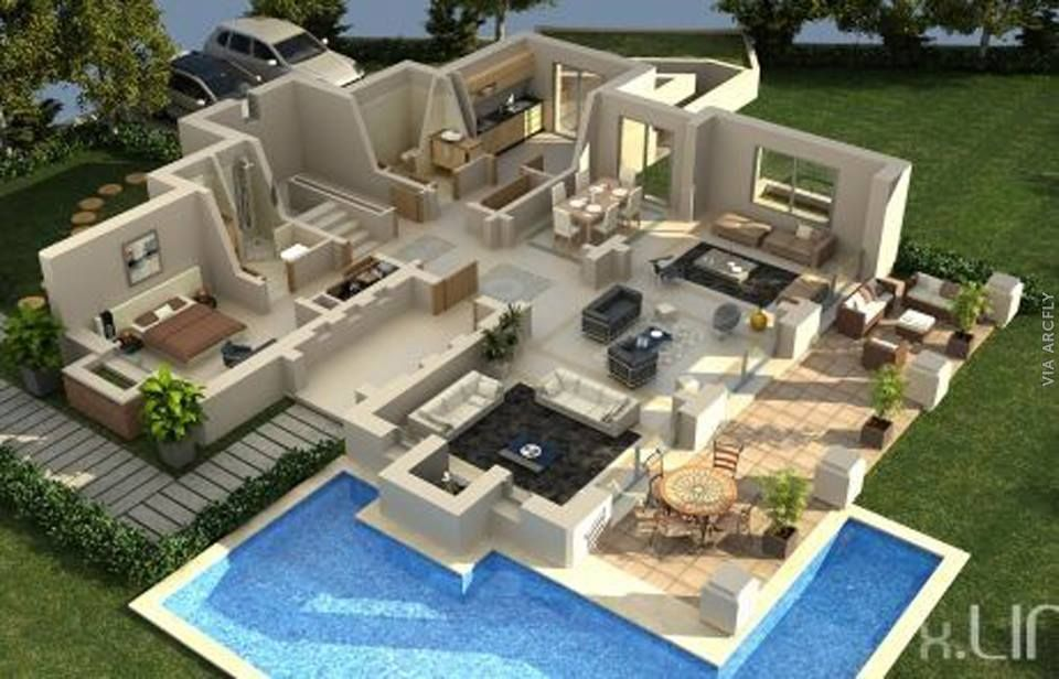 Dekorasi Rumah Minimalist 50 Denah Rumah Minimalis 3d 3 Kamar Tidur 2 Lantai Dan 2 Kamar Tidur Denah Rumah Rumah Minimalis Rumah