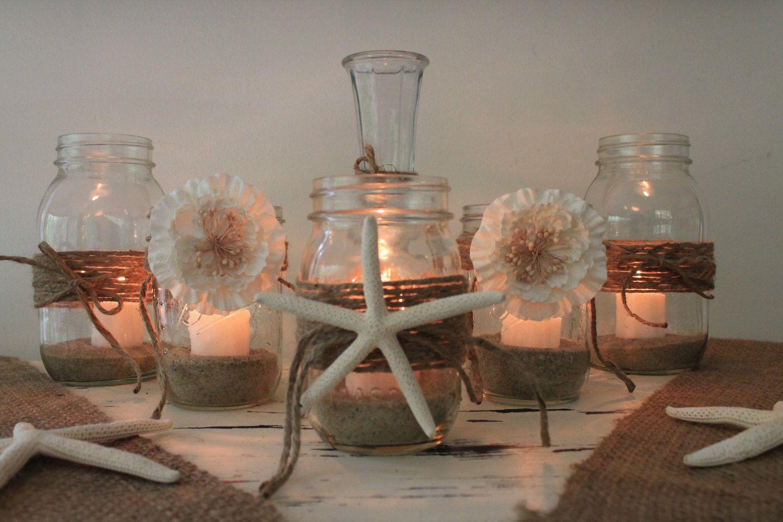 Rustic beach wedding decor mixed mason by rusticcottagedesigns