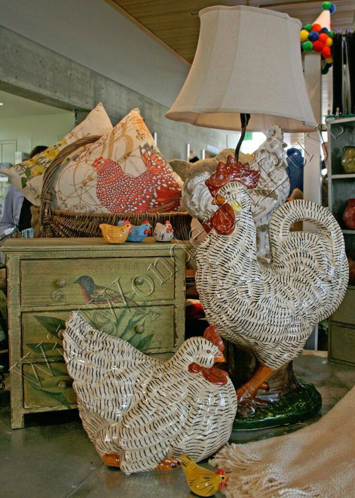 Details About Ocher Ceramic Country French Rooster Farmhouse Decor