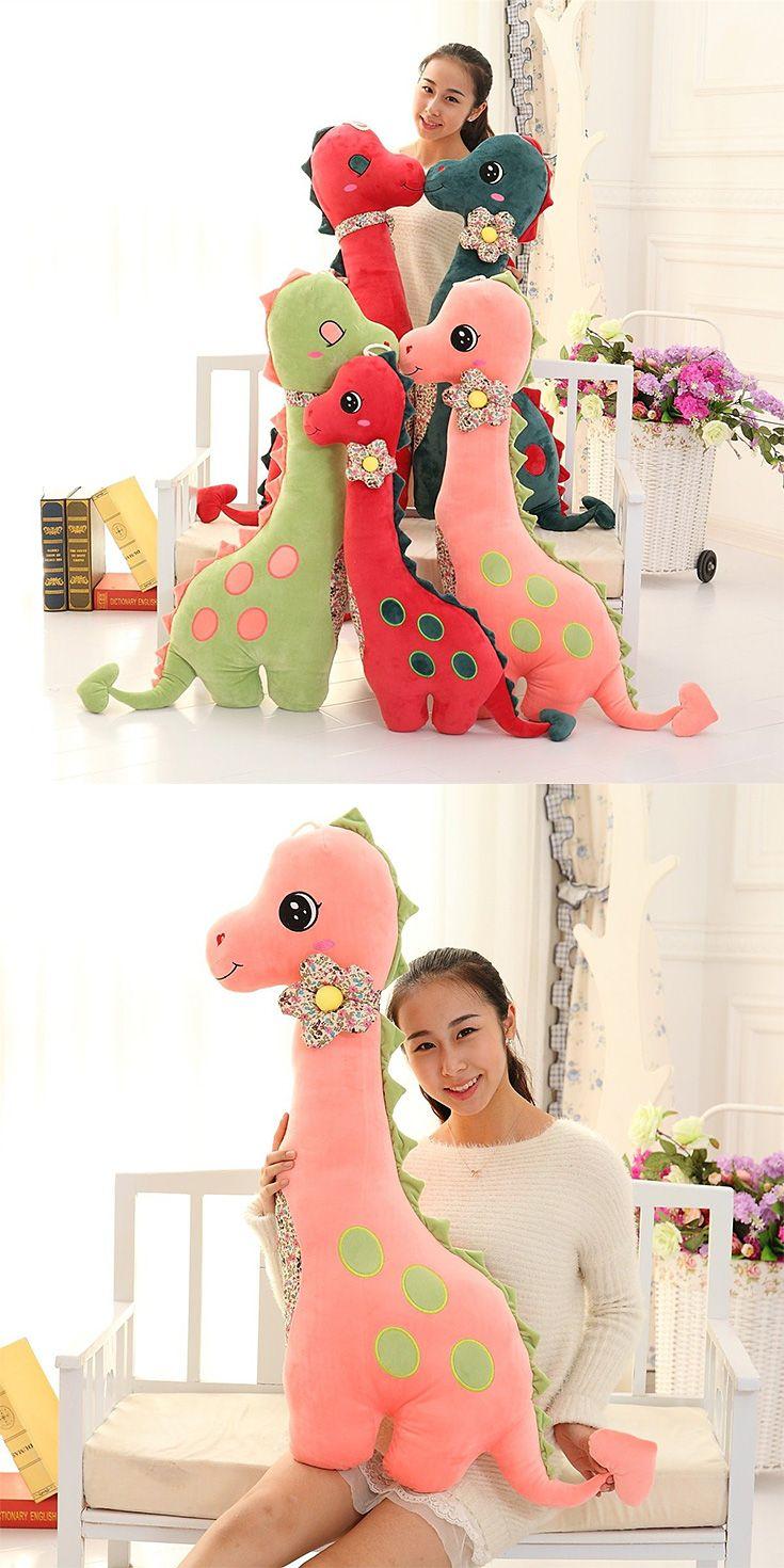 80/100cm Cozy Plush Brachiosaurus Dinosaur Pillow Soft Cuddly Stuffed Animal Throw Pillow Child Gift
