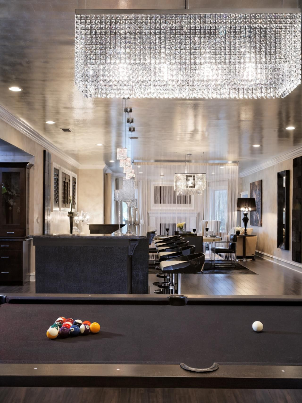 ... Dahlia Mahmood Took The Glamour Up A Notch With This Elegant Basement  Redesign Complete With A Pool Table, Bar Area And Swarovski Crystal  Chandeliers.