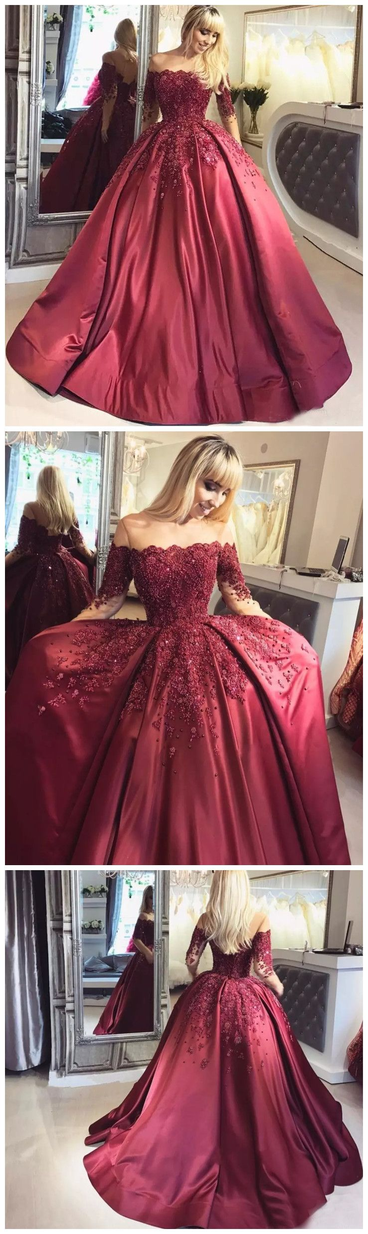 Chic ball gowns burgundy offtheshoulder half sleeve satin chic