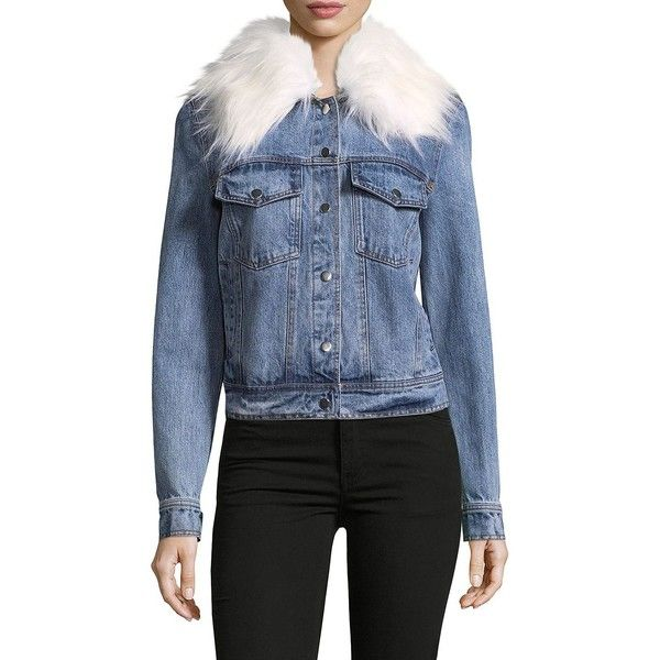 2c03f33621b2 Bagatelle Faux Fur-Trimmed Denim Jacket ($70) ❤ liked on Polyvore featuring  outerwear, jackets, dark denim jacket, dark blue denim jacket, faux fur trim  ...
