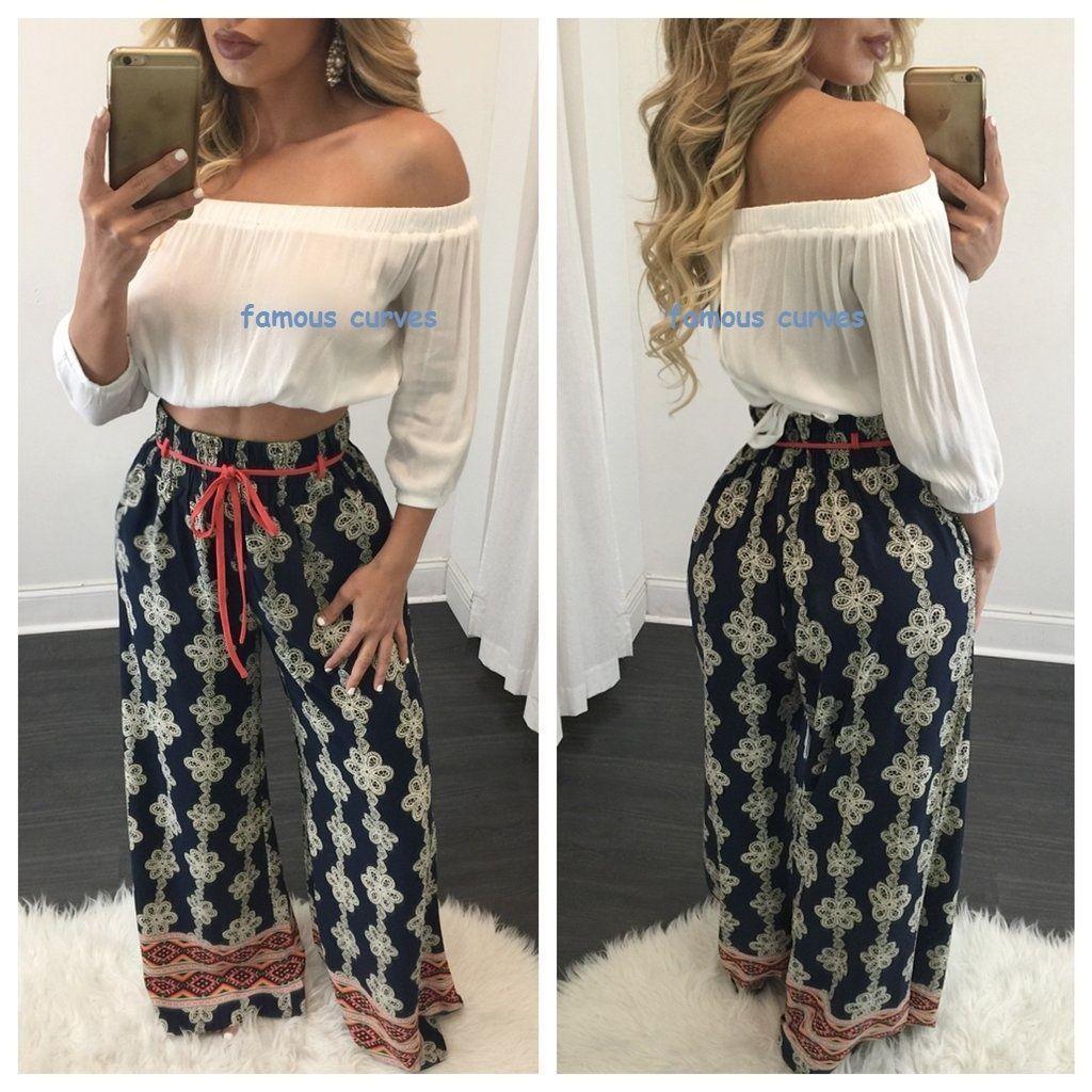 Womenus summer fashion high waist palazzo pants trousers casual wide
