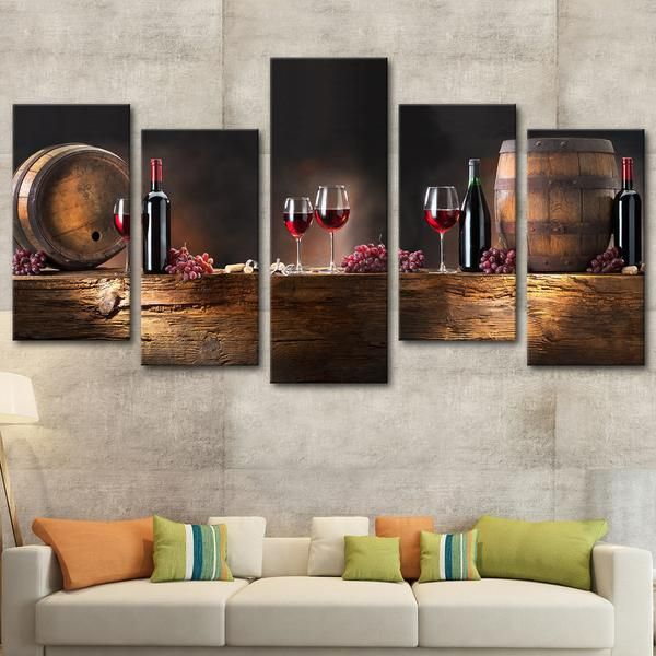 Wine Barrels Multi Panel Canvas Wall Art Wine Canvas Wall Art Wine Wall Decor Wine Wall Art