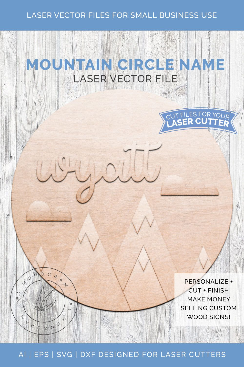 Circle Mountain Laser Wooden Sign Vector Wooden signs