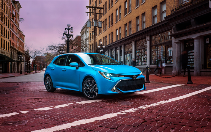 Download Wallpapers Toyota Corolla Xse Hatchback 2019 4k New Blue Corolla Family Cars Japanese Cars Toyota Besthqwallpapers Com Corolla Hatchback Hatchback Toyota Corolla