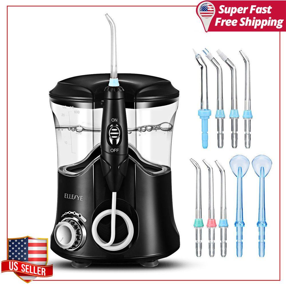 Black Electric Dental Water Jet Flosser Tooth brush Oral Care 360 Pick Pressure #ELLESYE