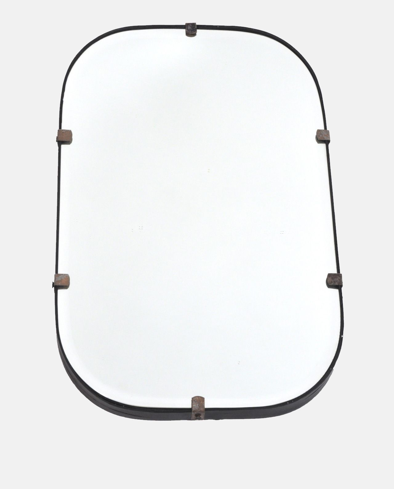 Black Frame Mirror Simple Bevelled With A Narrow Metal Rounded