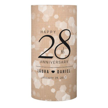 Elegant Linen Wedding Anniversary Celebration Flameless Candle