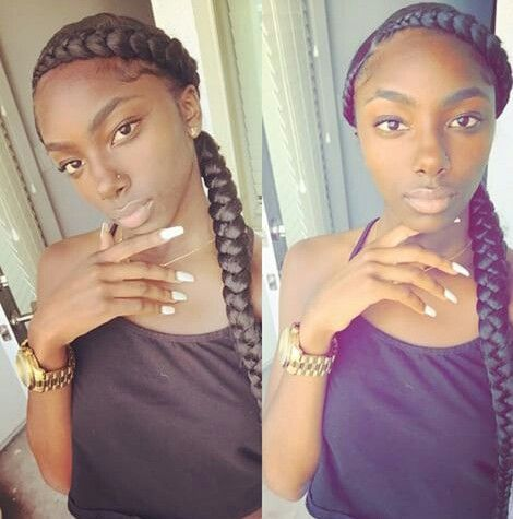 Two Big Cornrows Sew In Hairstyles Pinterest Big