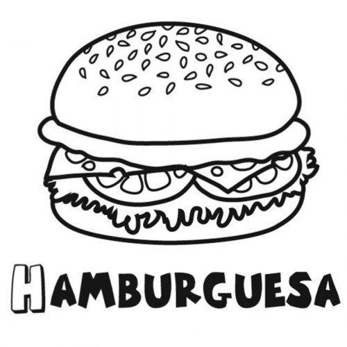 Dibujo Para Colorear De Una Hamburguesa Hamburguesa Para