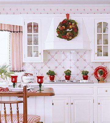 16 Creative Ways To Use Wallpaper In The Kitchen Kitchen Wallpaper White Kitchen Wallpaper Red And White Kitchen