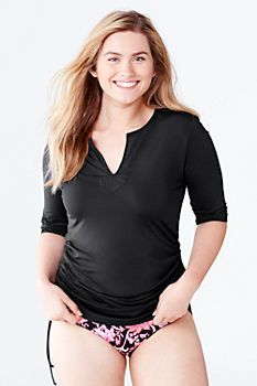 e16d2df5cba Women's Plus Size Adjustable Tunic Swim Rash Guard (in Black; size???)  (Lands' End) [$55-]