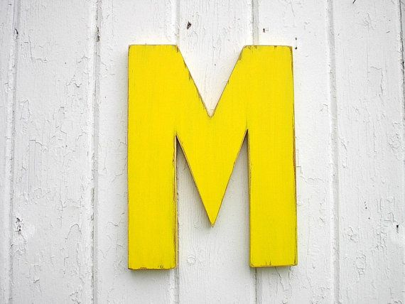 Kids Wooden Wall Decor Letter M 12 inch Yellow by LettersofWood ...