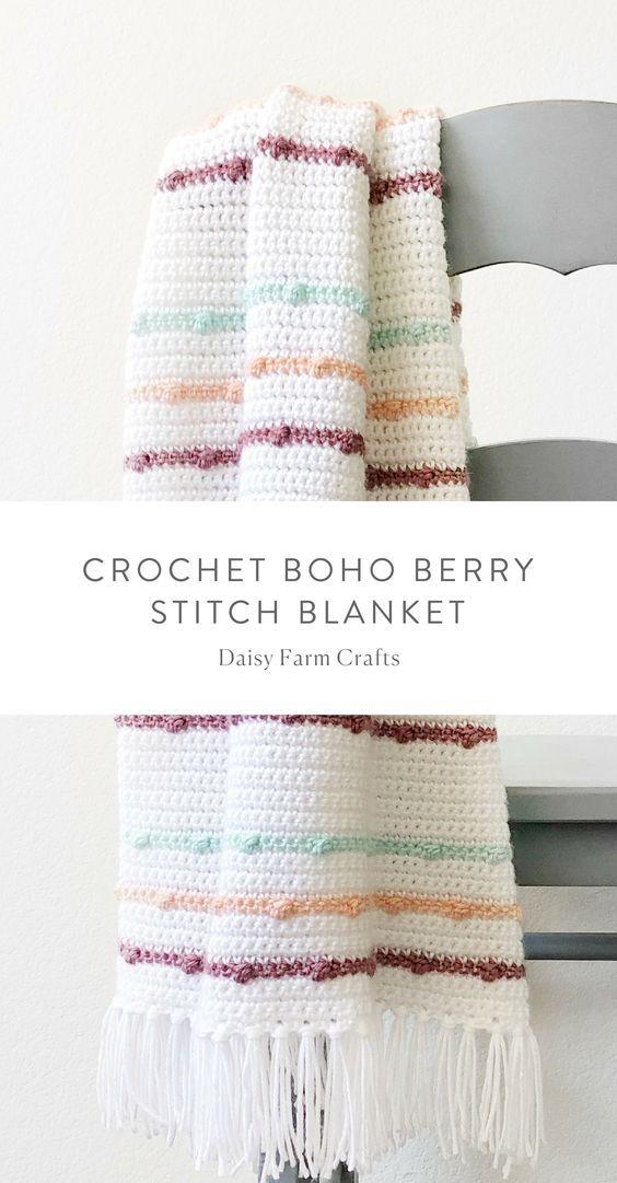 Free Pattern - Crochet Boho Berry Stitch Blanket #crochet   Crochet ...