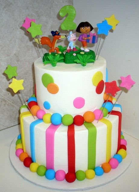 Dora Themed Birthday Cakes Doraandbootsbirthdaycake kids