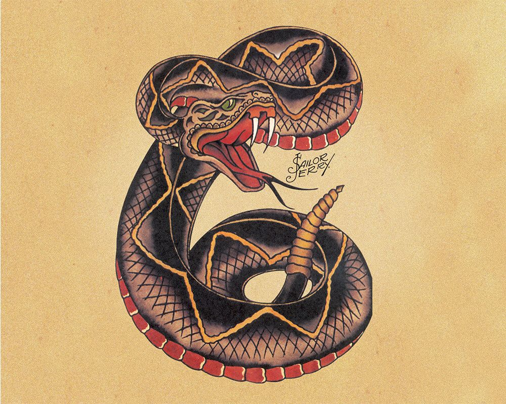 Snake Sailor Jerry Tattoo - Enamel Metal TIN SIGN Wall Plaque by ...