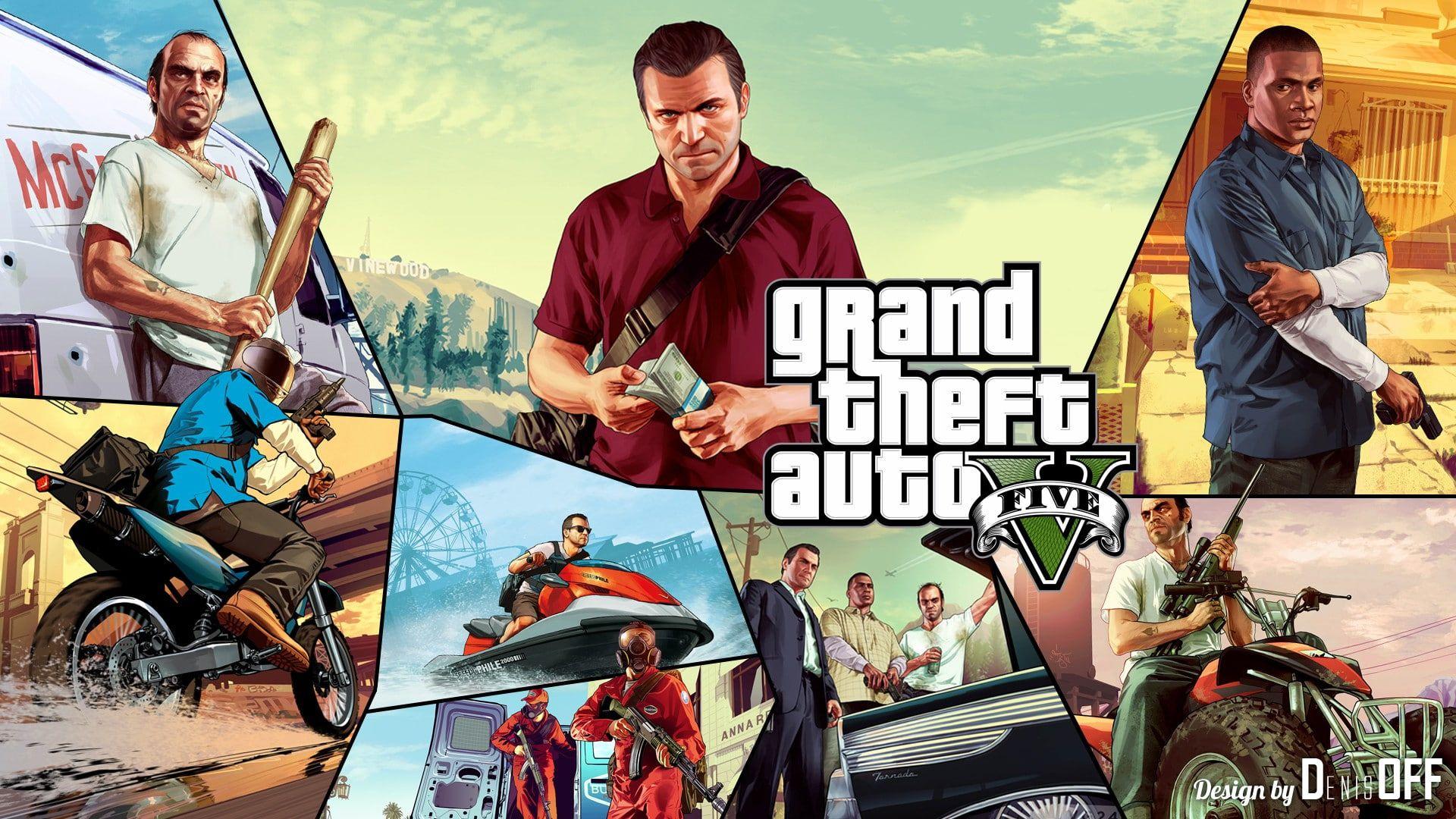 Gta 5 In Photoshop Grand Theft Auto Five Gta Gta5 Gtav V Photoshop Denisoff 1080p Wallpaper Hdwallpaper Desk In 2020 Grand Theft Auto Gta 5 New Wallpaper Hd