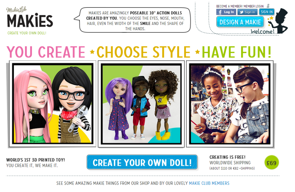 Makies - create your own doll - then have it shipped to you