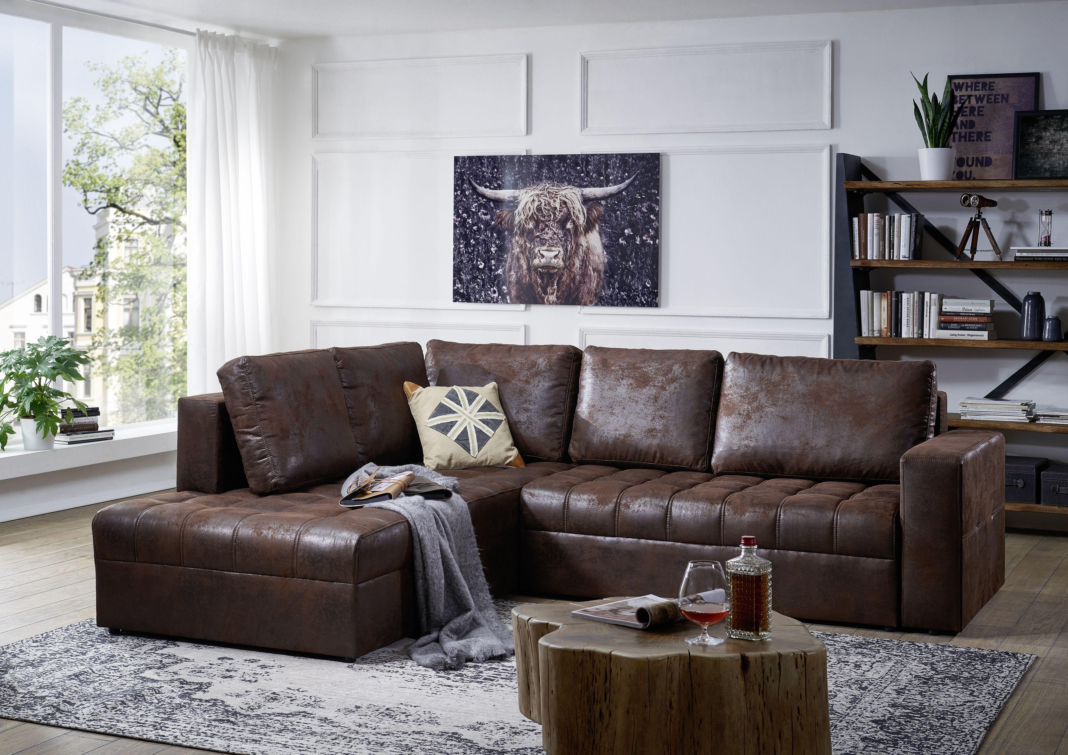 Modernes Sofa – Designer Couch fürs Wohnzimmer aus Leder – schwarz