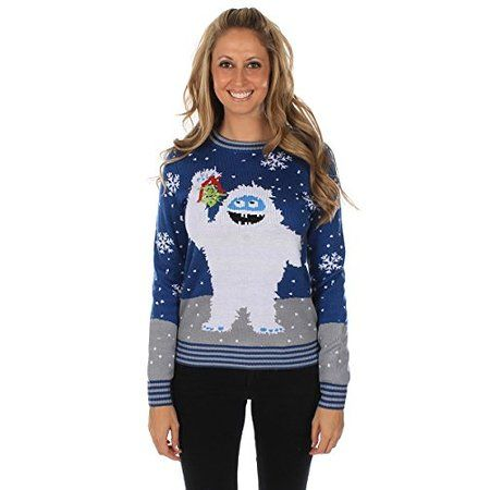 The Romantic Yeti Sweater Blue Women's Ugly Christmas Sweater