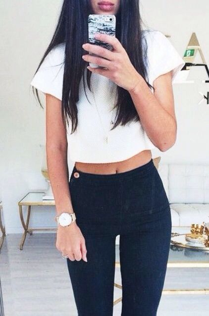 #summer #fashion / black and white casual outfit