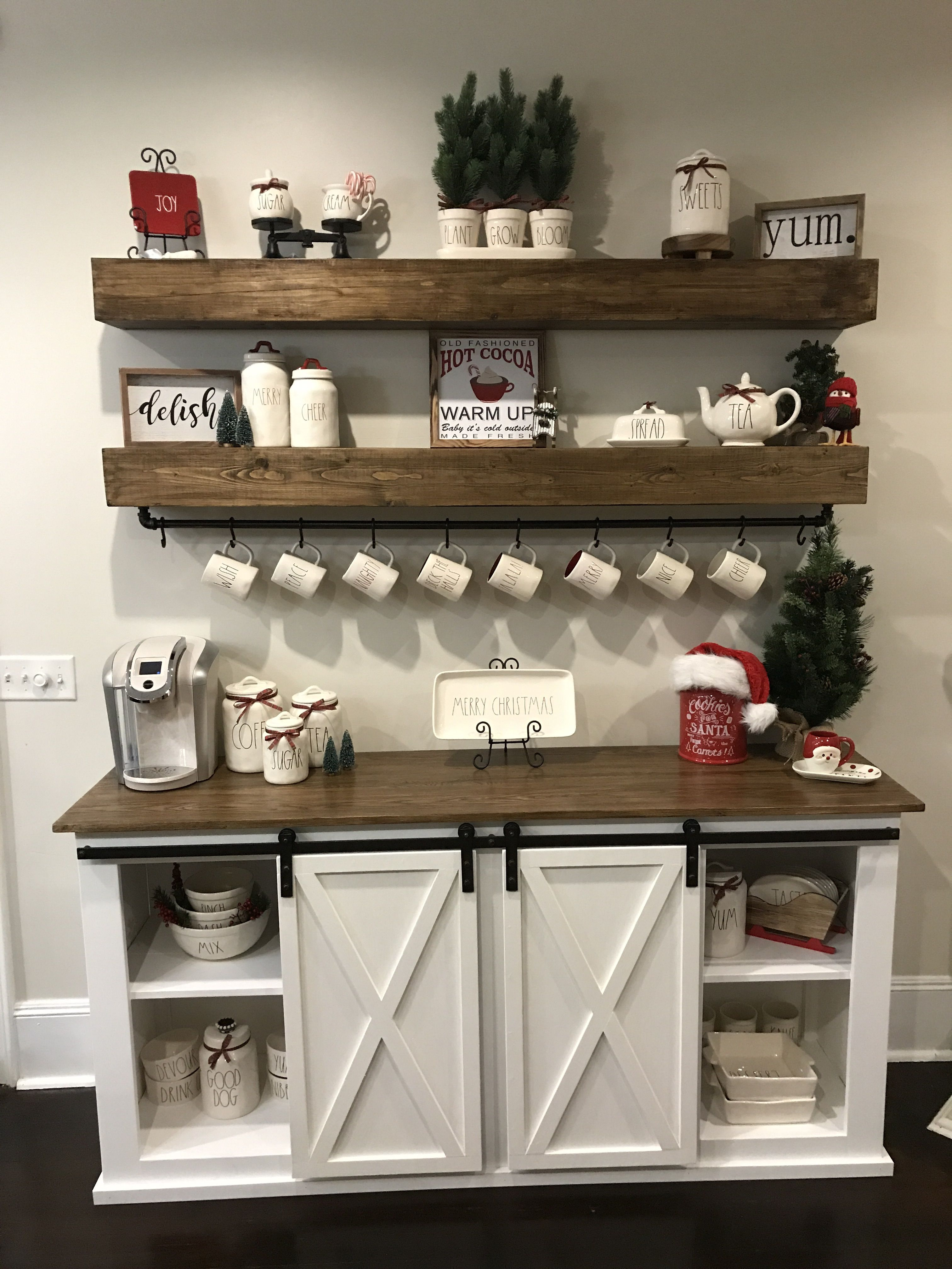 Ana White Sideboard amd floating shelves DIY Projects