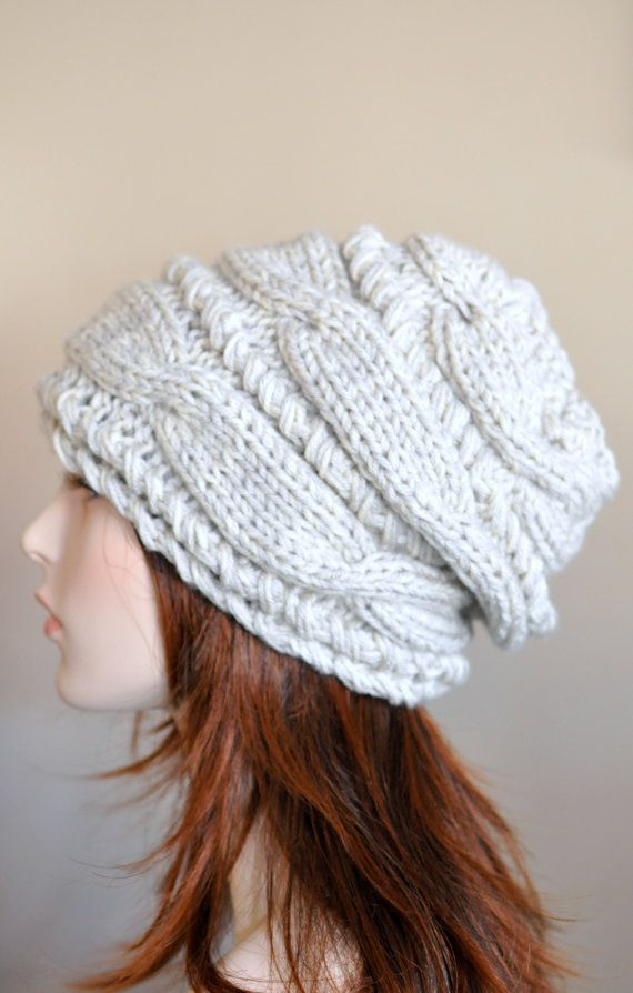 Women Hat Slouchy Hat Slouchy Beanie Cable Hand Knit Winter Women ...