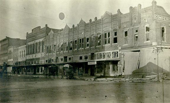 The postcard image below shows an Abilene street scene. What's curious about the image is that nearly all of the windows are broken and it looks like there is damage to the building on the right. We assume the image was taken after a big storm. (publisher unknown, circa 1905)